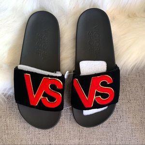 Victoria's Secret Sport Black Velvet Slip-ons-9
